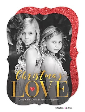 Christmas Love In Gold Holiday Flat Photo Card