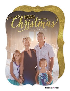 Merry Christmas In Gold Holiday Flat Photo Card
