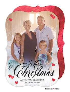 Christmas Hearts Holiday Flat Photo Card
