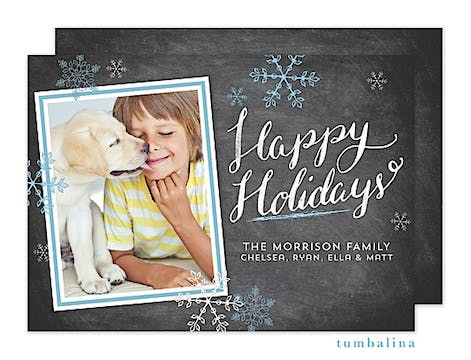 Holiday Hand-lettered Swirls Holiday Flat Photo Card