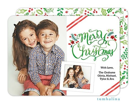 Christmas Handwritten Watercolor Holiday Flat Photo Card