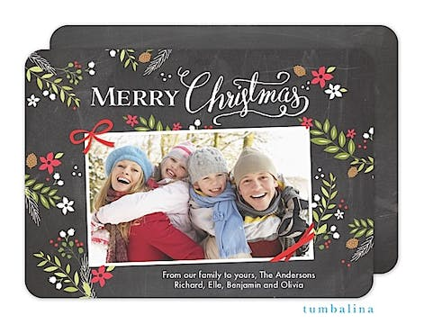 Rustic Christmas Foliage Chalkboard Holiday Flat Photo Card