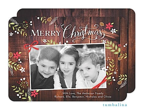 Rustic Christmas Foliage Wood Holiday Flat Photo Card