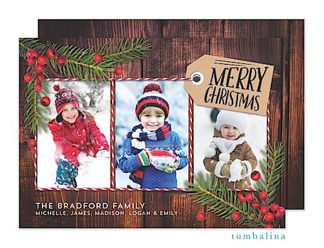 Rustic Pine Snapshots Brown Holiday Flat Photo Card