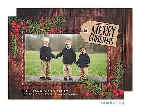 Rustic Pine Snapshots Holiday Flat Photo Card