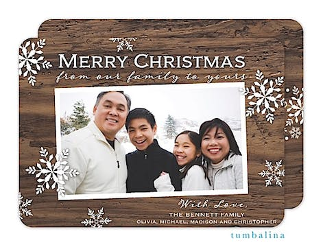 Rustic Snowflakes Holiday Flat Photo Card