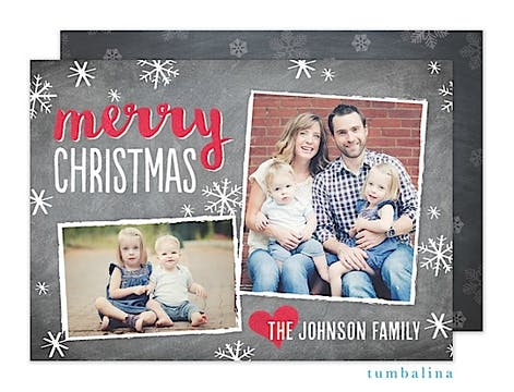 Chalky Snowy Christmas Holiday Flat Photo Card