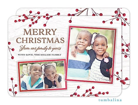 Christmas Berry Snapshots Holiday Flat Photo Card