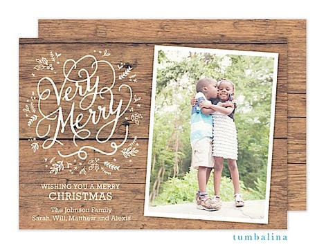 Rustic Floral Very Merry Holiday Flat Photo Card
