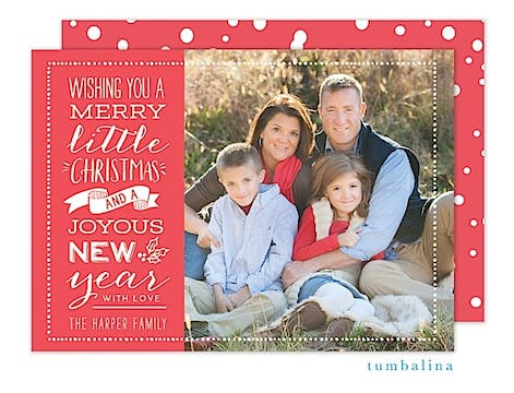 Merry Little Greeting Holiday Flat Photo Card