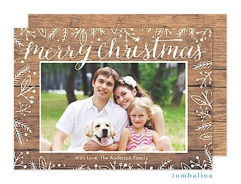 Rustic White Floral Holiday Flat Photo Card