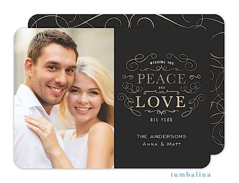 Peace Love Swirls Holiday Flat Photo Card