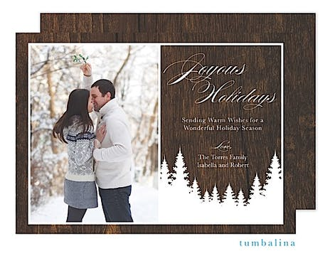 Rustic Trees Holiday Flat Photo Card