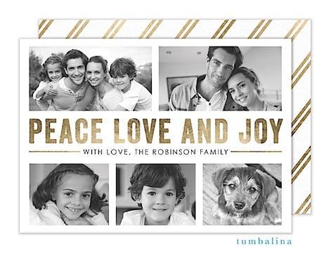 Gold Peace Love Joy Holiday Flat Photo Card