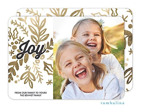 Golden Foliage Joy Holiday Flat Photo Card