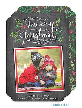 Hand-lettered Merry Christmas Chalkboard Holiday Flat Photo Card