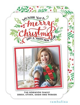 Hand-lettered Merry Christmas White Holiday Flat Photo Card