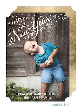 New Year Stars Holiday Flat Photo Card