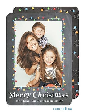 Festive Lights Holiday Flat Photo Card