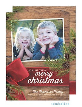 Rustic Christmas Ribbon Memories Holiday Flat Photo Card