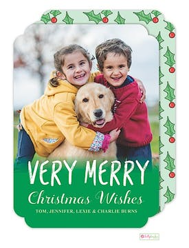 Merry Holly Holiday Flat Photo Card