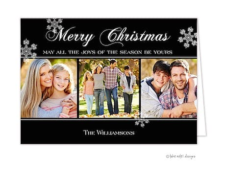 Black Simple Trio Folded Photo Holiday Card