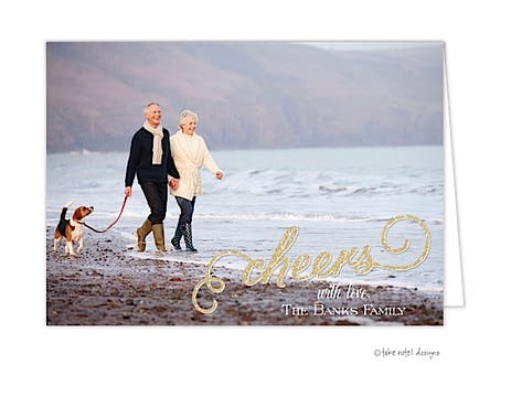 Cheers Sparkle Overlay Folded Photo Holiday Card
