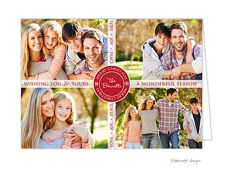 Ribbon Overlay Transparent Band Vertical Folded Photo Holiday Card