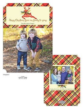 Plaid Watercolor Deer Holiday Flat Photo Card
