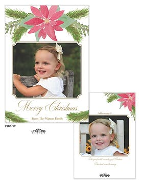 Watercolor Poinsettia Holiday Flat Photo Card