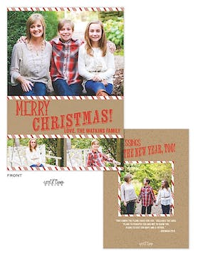 Craft Paper And Candy Cane Holiday Flat Photo Card