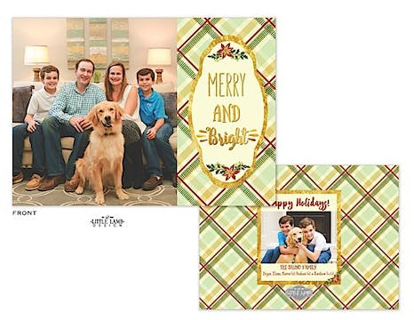 Merry And Bright Plaid Holiday Flat Photo Card