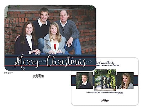 Navy And Red Simplicity Holiday Flat Photo Card