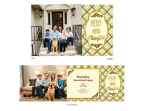 Plaid Merry And Bright Side-Fold Folded Photo Card