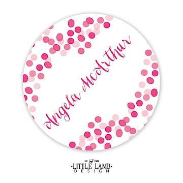 Pink Confetti Round Gift Sticker