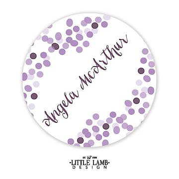 Purple Confetti Round Gift Sticker