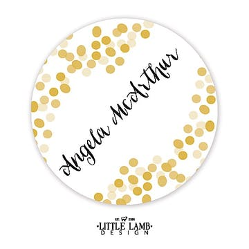 Gold Confetti Round Gift Sticker