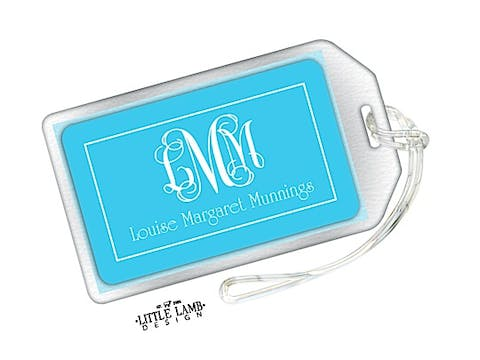 Aqua Monogram Luggage Tag