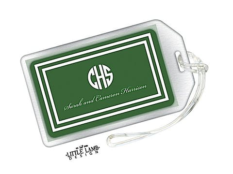 Green and White Initial or Monogram Luggage Tag