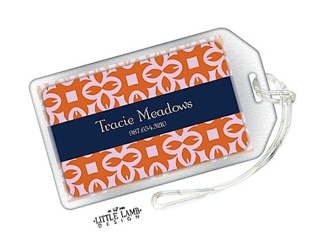 Rust and Navy Luggage Tag