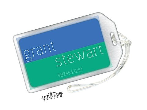 Blue and Teal Green Luggage Tag