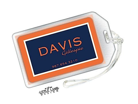 Orange and Navy Simple Luggage Tag