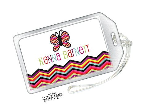 Butterfly and Chevron Striped Luggage Tag