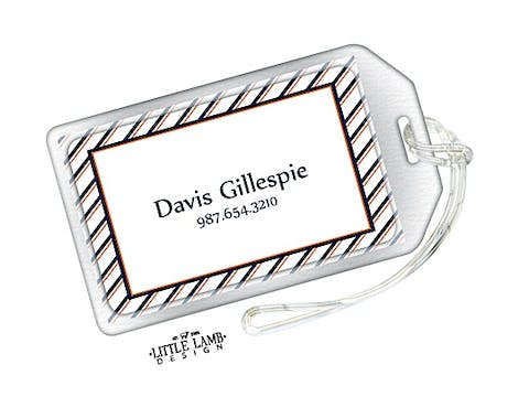 Navy and Orange Striped Border Luggage Tag
