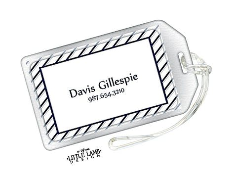 Navy and Grey Striped Border Luggage Tag