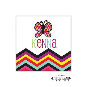 Butterfly and Chevron Striped Enclosure Card