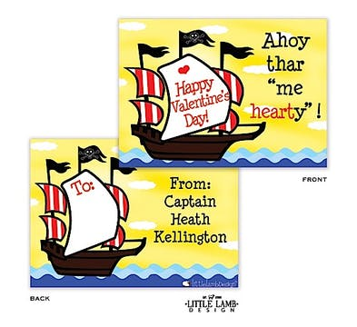 Pirate ship Valentine Cards