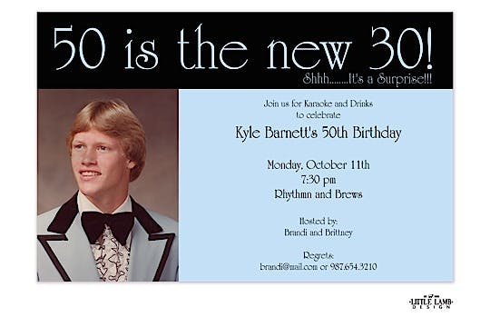 50 is the new 30! Photo Invitation - Blue/Black