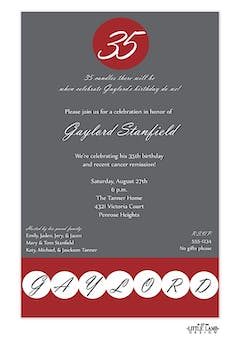 Birthday Dot - Crimson and Grey Invitation