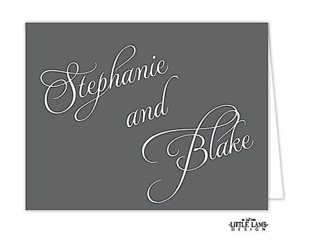 Grey Calligraphic Names Notecard